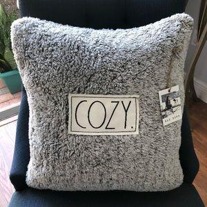 NEW Rae Dunn COZY Gray Sherpa Throw Pillow 20x20